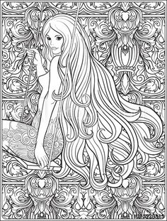Young beautiful girl with long hair on swing in rose garden coloring page | Adobe Stock