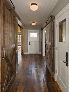 Love the doors and floors! Style At Home, Doors And Floors, Warm Home Decor, House Doors, Wide Plank, Interior Barn Doors, My New Room, My Dream Home, Dream Homes