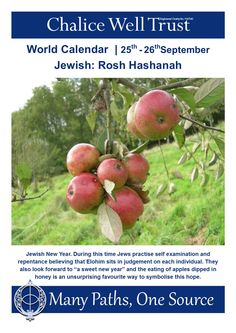 "Jewish New Year. During this time Jews practise self examination and repentance believing that Elohim sits in judgement on each individual. They also look forward to ""a sweet new year"" and the eating of apples dipped in honey is an unsurprising favourite way to symbolise this hope. World Calendar, Calendar 2014, Glastonbury Tor, Apple Dip, Rosh Hashanah, Beautiful Gardens, Apples, Honey, Autumn"