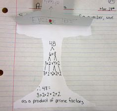 Prime Factorization Factor Tree math journal entry @ Runde's Room