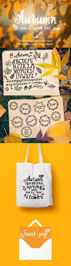 Autumn set. Script Fonts. $16.00