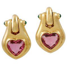 BULGARI Heart Shape Pink Tourmaline & Cabochon Emerald Earrings