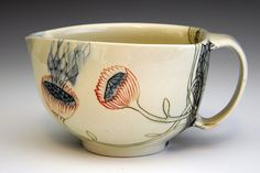 I love the slightly off centre shape of this ceramic cup. Beautiful design by Michelle Summers