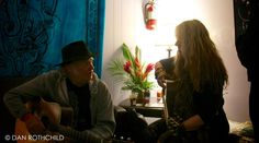 Neil Young and Nancy Wilson warming up.