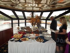 Buffet in the bow of the yacht