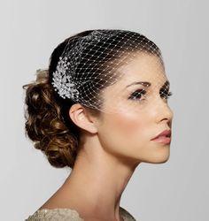 Birdcage Veil, blusher veil, Bridal Veil, Bridal Comb, Bandeau Birdcage Veil, Blusher veil, Bird Cage Veil, Detachable Crystal Comb Veil