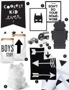 zwart wit jongenskamer, zwartwit kinderkamer, accessoires, zwartwit beddengoed