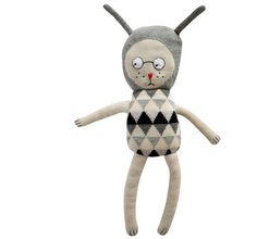 Pale Nulle knitted toy designed in Denmark by Luckyboysunday. Established in 2007, this young Danish Design house has created a collection of humorous soft toy characters that appeal to adults and children alike. They find their inspiration in childhood memories, graphic art and everyday life objects.    Made from beautifully soft 100% baby alpaca wool using non-toxic dyes.  Recommended hand wash only.