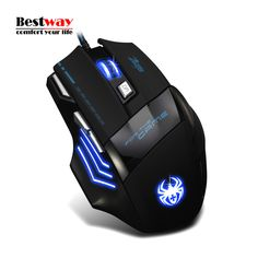 Computer Gaming Mouse Mause Sem Fio 5500DPI Adjustic Ergonomic Wired Mouse Optical 7 Button Mice Creative USB Spider Logo Stock