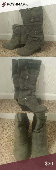 Gray Union Bay Boots These boots are made for walkin'...Gently used gray boots with about a 2 inch wedge heel and buckle detail. They come up to the knee. Excellent conditon. UNIONBAY Shoes Heeled Boots