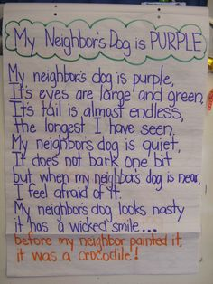 Visualizing. Great poem for metal images. Plus free recording sheet to go with the poem, My Neighbor's Dog is Purple by Jack Prelutsky.