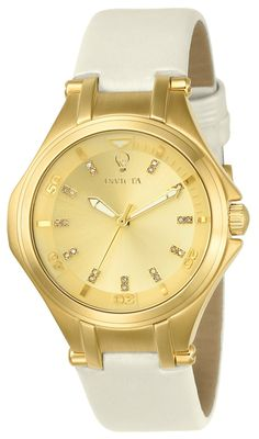 2f86ecb0bfd6 Invicta 23251 Women s Gabrielle Union Gold Dial White Leather Strap Diamond  Watch