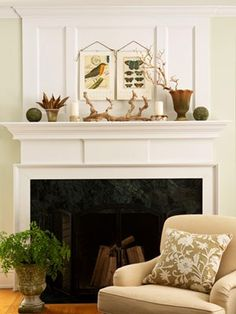 @rissagunderson  traditional mantel transition to millwork wall