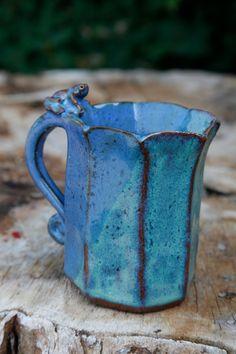 Pretty blue pottery mug makes  morning tea special!