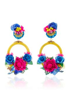 Add some summer florals to your outfit with these bold statement earrings from Ranjana Khan.