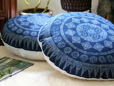 """30""""  Round Floor Pillow In Hmong Indigo Batik  - product images  of"""
