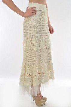 falda larga crochet