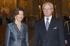 "The Royal family attended the seminar ""Sweden in peace for 200 years"" at the  Bernadotte library of the Royal Palace of Stockholm, closing with a concert by the Orchestra of the Royal Swedish Navy, which took place in the chapel. (L to R) & Queen Silvia & King Carl XVI Gustaf of Sweden."