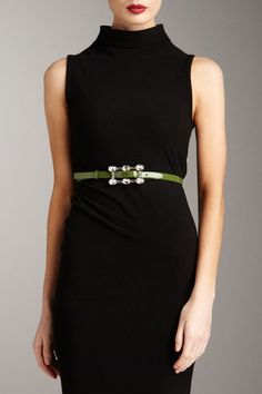 Valentino Jeweled Buckle Skinny Belt with black dress