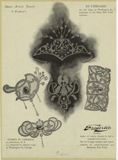 A gorgeous tiara sketch, including a widow's peak and diamond spray by the american firm of Frederick's