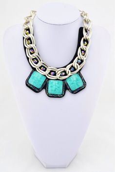 Gorgeous chunky chain with blue resin & crystal details now £6.99!! www.christabeljewellery.co.uk