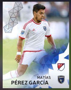 Matías Pérez García (Matías Augusto Pérez García) San Jose Quakes (MLS) Silver Parallel Card 2016 Topps KICK