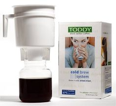 Toddy T2N Cold Brew System: Designed to brew coffee with 67-percent less acid than coffee made with hot brew methods. Patented cold brew system uses regular coffee beans to create super smooth hot coffee, but with no electricity required. Get more out of your coffee beans, since the coffee concentrate stays fresh for up to 3 weeks