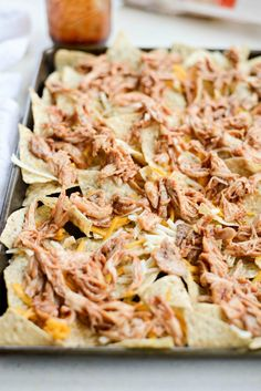 Sheet Pan BBQ Chicken Nachos - Simply Scratch Bbq Chicken Nachos, Barbecue Chicken, Lemon Pepper Seasoning, Cheese Snacks, Favourite Pizza, Shredded Chicken, Tortilla Chips, Sheet Pan, Cabbage