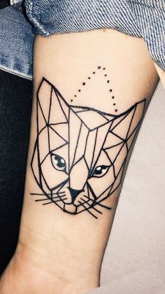 Geometric Cat Forearm Tattoo Ideas for Women - Cool and Unique Arm Wrist Tat - www.MyBodiArt.com