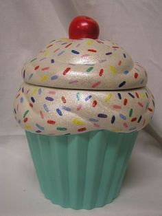 Rainbow Sprinkles Turquoise Crunch Cupcake Jar by whitedovecrafts, $14.75  Cupcake decor to adore & more.  Make a kitchen & cupcake lover happy today.
