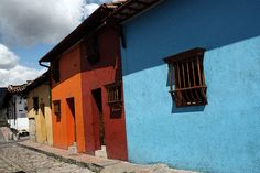 Colorful houses are the norm in the La Candelaria district of Bogota.
