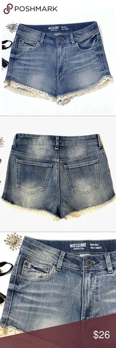 Lace Trimmed Cut off Blue Denim Shorts Denim cutoffs with minor acid wash blue color. Side coin pocket. These shorts are in excellent condition The shorts' frayed leg edges are trimmed with soft - not scratchy- Ivory lace. Daisy Dukes style. Very cute! These are a size 5 since that size option isn't available I selected 4. Yeehaw bring out your inner cowgirl Shorts