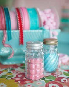 Great idea!glass salt shakers for glitter! (2 for a dollar at 99cent stores)