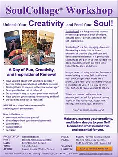 Unleash Your Creativity at the Soul Collage Workshop August 3 2013 Alpine Ca 91901