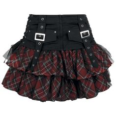 - layered skirt  - red tartan  - black tulle  - elastic waistband  - incl. belt…