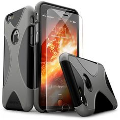 iPhone 6 Case, X-Case 6s Black Gray *Bonus Tempered Glass* Screen Protector Slim #SaharaCase