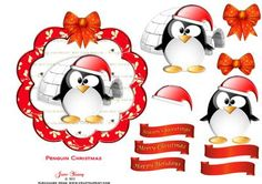 Penguin Christmas on Craftsuprint designed by June Young - A rather bemused Penguin in his wooly Christmas hat stood outside an igloo. On a scalloped edged, 2-layer topper with a toning bow. There are 5 greetings tags, 2 are blank for your own message. - Now available for download!