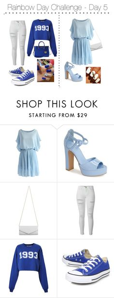 """Rainbow Day Challenge - Day 5"" by shinee-panda ❤ liked on Polyvore featuring Chicwish, Topshop, Akira, Frame Denim, MSGM, Converse and Michael Kors"