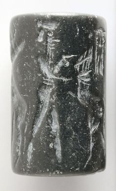 Cylinder Seal Mesopotamia, Agade period, about 2334-2154 B.C. Tools and Equipment; seals Black serpentine Height: 7/8 in. (2.3 cm); Diameter: 13/16 in. (2.1 cm) Gift of Nasli M. Heeramaneck (M.76.174.357) Art of the Ancient Near East