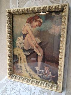 Vintage Framed Cydney Grossman Ballerina Print by VintagerStyle