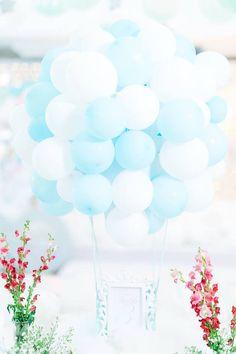 Balloon installation centerpiece from a Pastel Moon & Stars Birthday Party on Kara's Party Ideas | KarasPartyIdeas.com (10)