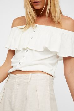 Love Letter Tube | Cute strapless top featuring a flouncy overlay and front button closures. * Elastic at the neckline and bottom band for a comfortable fit