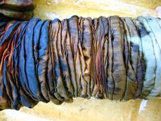 Rust Dye Shibori Steel wool underneath and copper wire on top for added effects