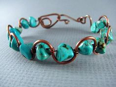Wire Wrapped Bracelet Turquoise and Copper by PolymerPlayin, $23.00