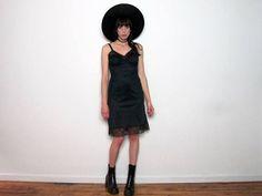 Black LACE Trim VINTAGE Slip LINGERIE Dress Womens Size S/M