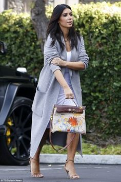 Kim Kardashian wearing And Re Walker Fall 2014 Dress, Celine Fall 2014 Rtw Collection Coat, Alexander Wang Antonia Beige Suede Sandals and Hermes Herbag Bag