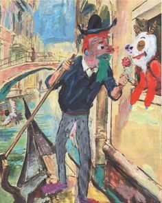 """Jacques Flechemuller, """"The Gondolier in Love"""", gouache on found image mounted on board  12x9"""" 2016"""