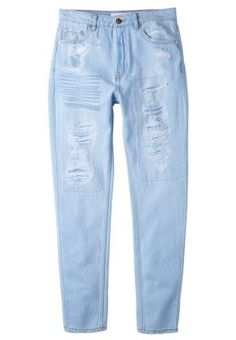 Buy Mango High Waist Jeans, Light Blue from our Women's Jeans range at John Lewis & Partners. High Waisted Distressed Jeans, Torn Jeans, Jeans Pants, 80s Jeans, Light Blue Ripped Jeans, Ripped Denim, Embellished Jeans, Embroidered Jeans, Jeans