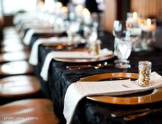 Black and gold wedding reception table decor at Grouse Mountain - The Peak of Vancouver
