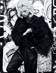 edgy, black and white, blonde hair and urban street art.